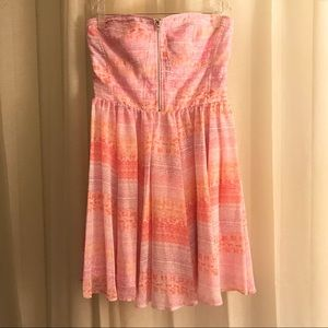 Guess Pink Floral Strapless Dress Size 8